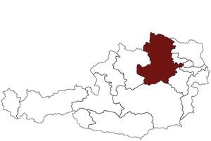 Bild zeigt Österreichkarte mit rot markiertem Aufsichtsbezirk des AI Wald- und Mostviertel