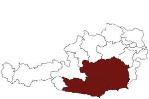 Österreichkarte mit Standort des ärztlichen Dienstes für Kärnten und Steiermark
