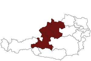 Österreichkarte mit Standort des ärztlichen Dienstes für Oberösterreich und Salzburg
