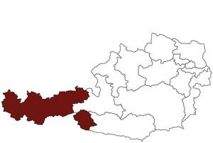 Österreichkarte mit Standort des ärztlichen Dienstes Tirol und Vorarlberg