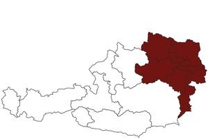 Österreichkarte mit Standort des ärztlichen Dienstes für Wien, Niederösterreich und Burgenland