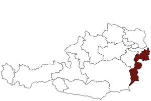 Österreichkarte mit Standort des Arbeitsinspektorates für das Burgenland