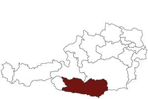 Österreichkarte mit Standort des Arbeitsinspektorates für Kärnten