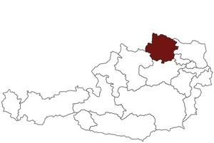 Österreichkarte mit Standort des Arbeitsinspektorates Niederösterreich Waldviertel