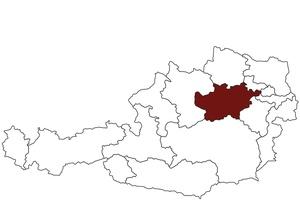 Österreichkarte mit Standort des Arbeitsinspektorates Niederösterreich Mostviertel