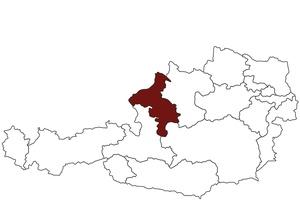 Österreichkarte mit Standort des Arbeitsinspektorates Oberösterreich West