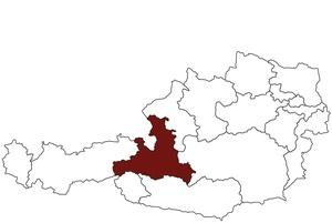 Österreichkarte mit Standort des Arbeitsinspektorates für Salzburg