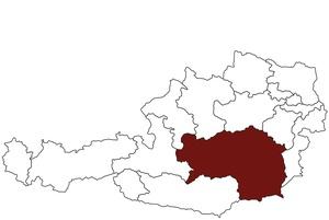 Österreichkarte mit Standort des Arbeitsinspektorates für Steiermark