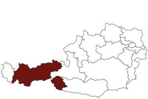 Österreichkarte mit Standort des Arbeitsinspektorates fürTirol und Südtirol
