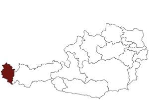 Österreichkarte mit Standort des Arbeitsinspektorates für Vorarlberg