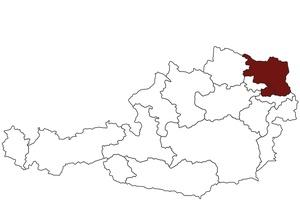 Österreichkarte mit Standort des Arbeitsinspektorates für Wien Nord und Weinviertel