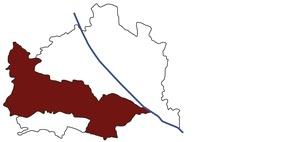 Österreichkarte mit Standort des Arbeitsinspektorates für Wien West-Ost