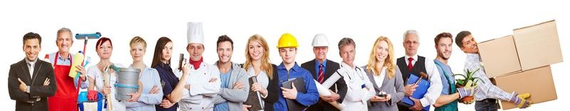 Pannerbild mit Menschen in verschieden Berufen