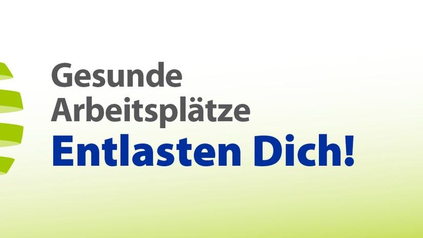 Bild zeigt das Kampagnen Logo der EU-Kampagne 'Gesunde Arbeitsplätze-Entlasten dich' - Das Logo besteht aus mehreren animierten Personen aus verschiedenen Berufsgruppen versammelt um eine Wirbelsäule., © EU-OSHA